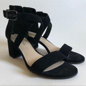 Via Spiga black buckle sandal heels/ 9